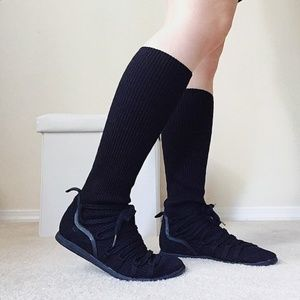 NWT Black Ribbed knit sweater boots w lace